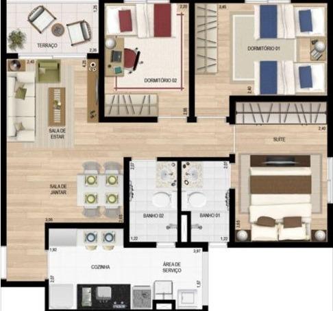 Apartamento 03 Dormitório E 01 Suíte
