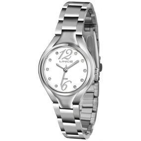 Relógio Lince Pequeno Feminino Aço Visor Branco Lrmj057l
