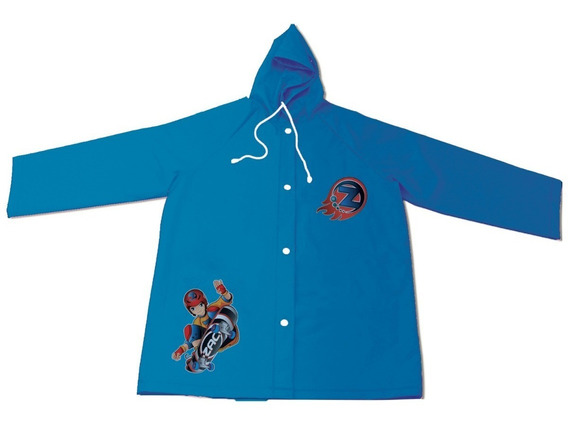 Capa De Chuva Infantil Azul Com Bolso Touca Ajustável M G Gg