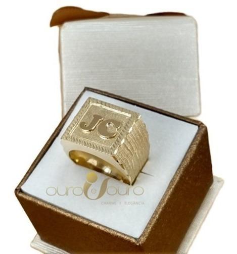 Anel Masculino Letra Quadrado Ouro 18k 15 Gramas Luxo Top