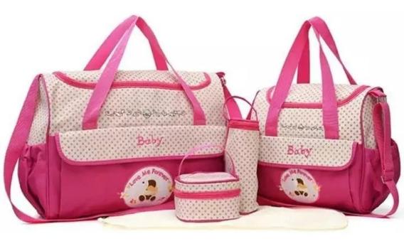 Kit Bolsa Maternidade Bebê Menina Rosa 5 Peças Promocao