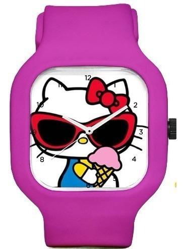 Relogio Hello Kitty Pink A Prova Dagua Troca Pulseiras
