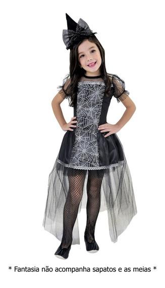 Fantasia Bruxa Infantil Vestido Luxo Malévola Com Tiara