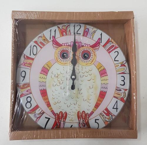 Reloj Pared Vidrio 30cm No Madera Buho Macarons