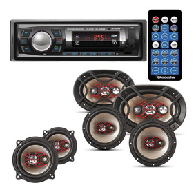 Toca Rádio Carro Bluetooth Roadstar + Kit 6 Alto Falantes