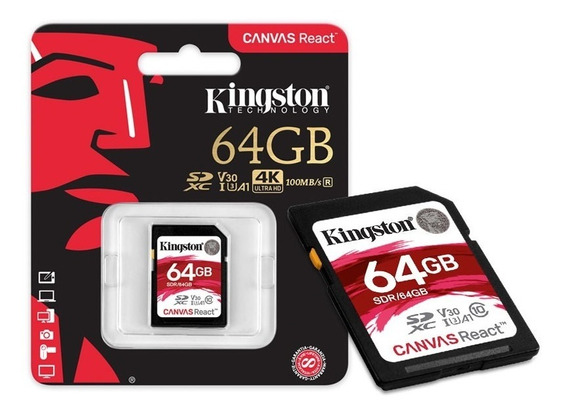 Cartão Memória Sdxc 64gb Canvas React - Sdr/64gb - Kingston
