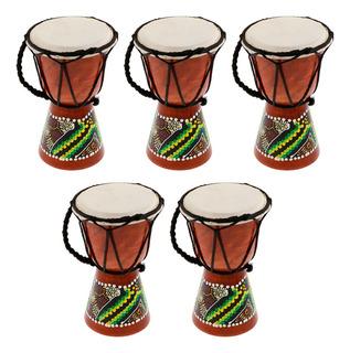 5 Piezas De Djembes Africanos Profesional Tambor Bongo