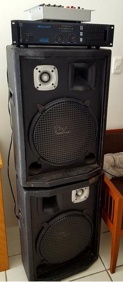 Som Completo Com Mesa, Amplificador E 2 Caixas De 500w Rms