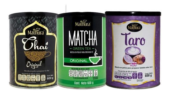 3 Latas De 600g Marca Mathura Sabor Matcha Taro Y Original
