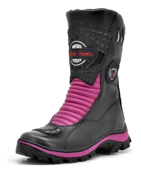Bota Motociclista Unissex Couro Atron Shoes 302 *top*