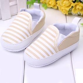 Sapatinho Bebê Festa Listrado Bege Branco - Sapato Infantil