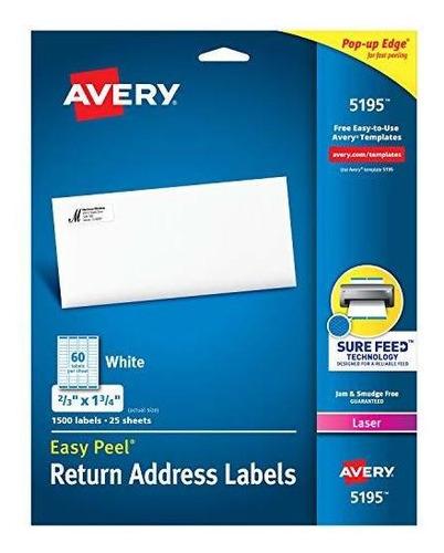 Etiquetas De Devolución De Avery, Impresoras Láser, 1.500