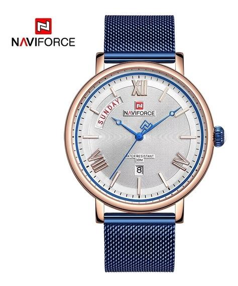 Reloj Análogo De Lujo Para Caballero Oro Rosa Y Azul Rey