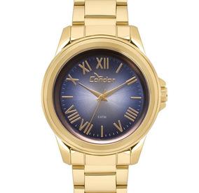 Relógio Feminino Dourado Condor Romano Original Metálico Nfe