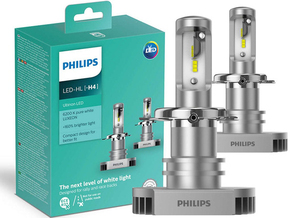 Lâmpada Led H4 Philips Ultinon Led 6000k Biodo 11342ulwx2