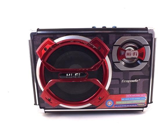 Caixa De Som Ecopower Portátil Usb Radio Microfone A10218