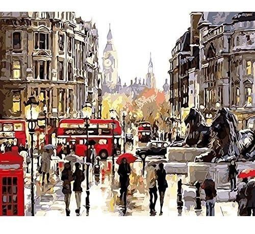 Imagen 1 de 1 de Lienzo Pinta Por Números Londres Inglaterra Grupo Educar