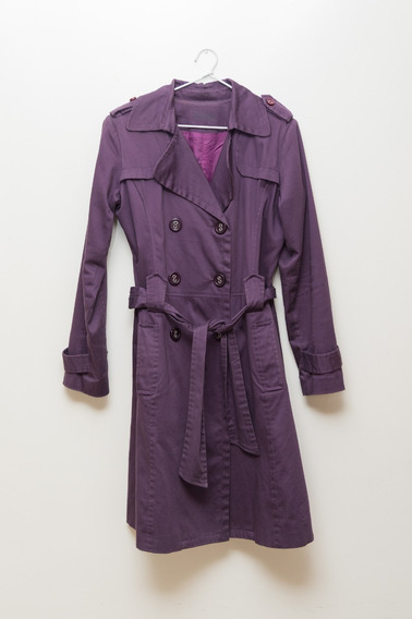 Trench Tapado Saco Violeta Central Impecable