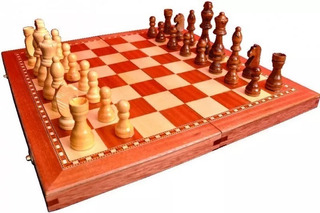 Ajedrez Y Backgammon Juego Madera Plegable 2en1 Fichas 87mm