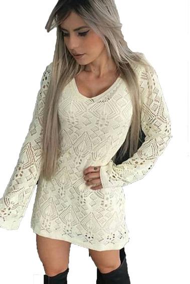 Vestido Feminina Manga Longa Trico Croche Outono Inverno