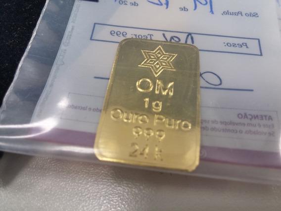 Barras 1 Grama Ouro Minas Puro 999 24k Lacrada Certificado