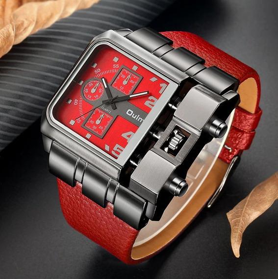 Relógio Masculino Rustico Aço Inox Couro Vermelho Social Top