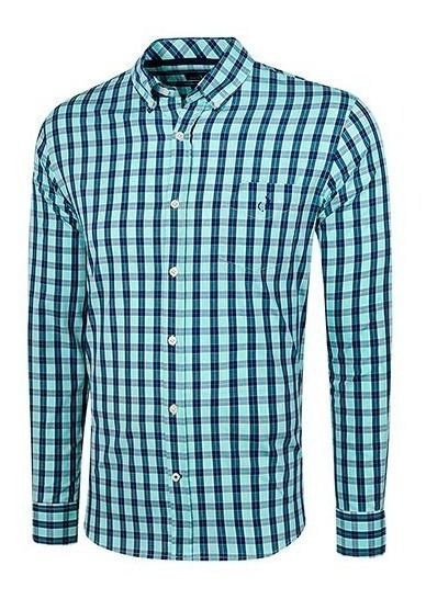 Camisa Cuadros Hombre Polo Club Ak070 Manga Larga Azul T3