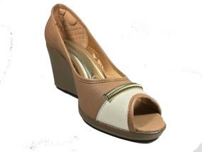 Sapato Feminino Anabela Peep Toe Azaleia Lev Marrom Bege