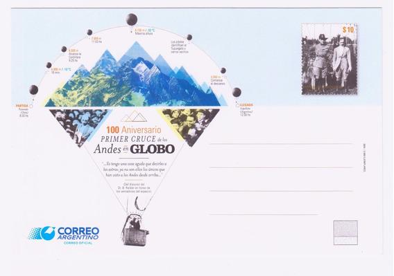 Argentina Entero Postal Aniversario Cruce Andes En Globo