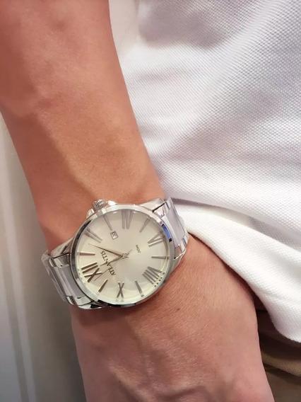 Relógio Masculino Original Marca Atlantis Romano Cor Prata