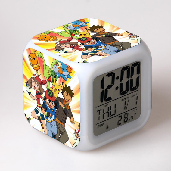 3*novela Pokemon Pikachu Reloj De Alarma Digital Luz De Noch