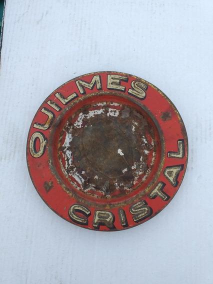 Antiguo Cenicero Cerveza Quilmes De Chapa
