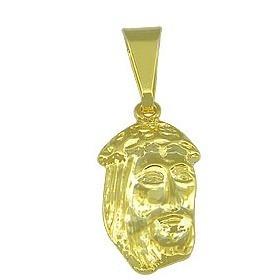 Pingente Face De Cristo Folheado A Ouro