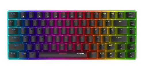 Imagen 1 de 2 de Teclado gamer Ajazz AK33 QWERTY Ajazz Blue inglés US color negro con luz RGB