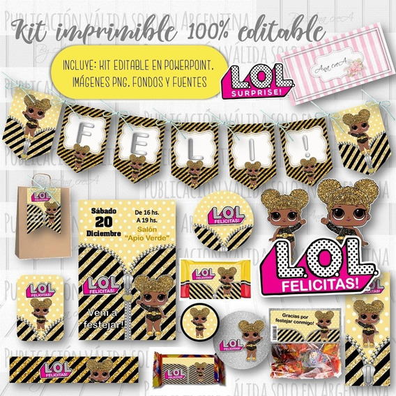 Kit Imprimible Lol Surprise! Queen Bee 100% Editable Candy