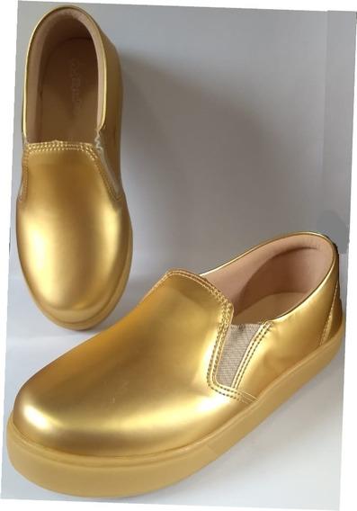 Tênis Dourado Com Led Tam. 34