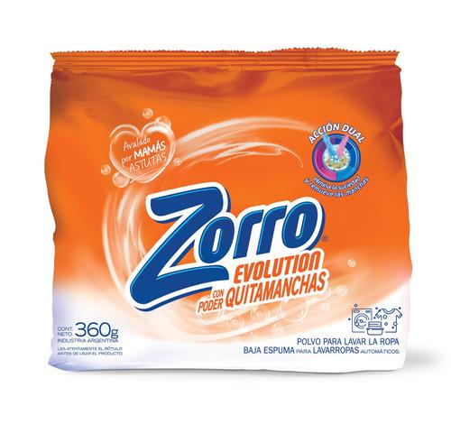 Jabón en polvo Zorro Evolution Baja Espuma bolsa  360g