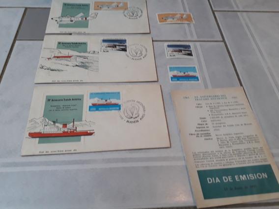 3 Sobres Encotel + Estampillas -xx Aniv. Tratado Antartico