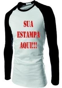 Kit 4 Camiseta Raglan Sua Estampa M. Longa Frete Gratis