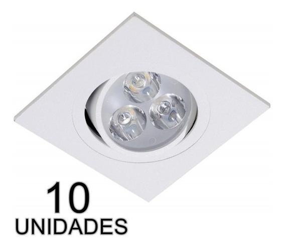 Kit 10 Spot Led 3w Borda Branca Quadrado Branco Frio Croic