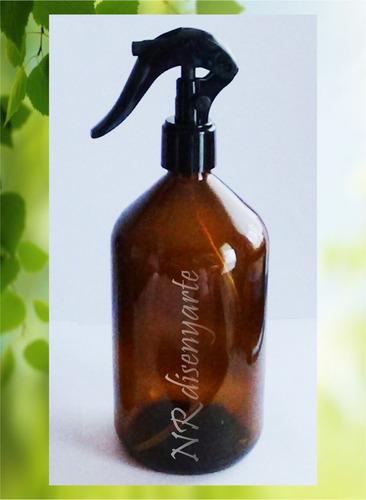 Imagen 1 de 1 de Frasco Botella Vidrio Ámbar 500ml Mini Gatillo Spray   Leer!