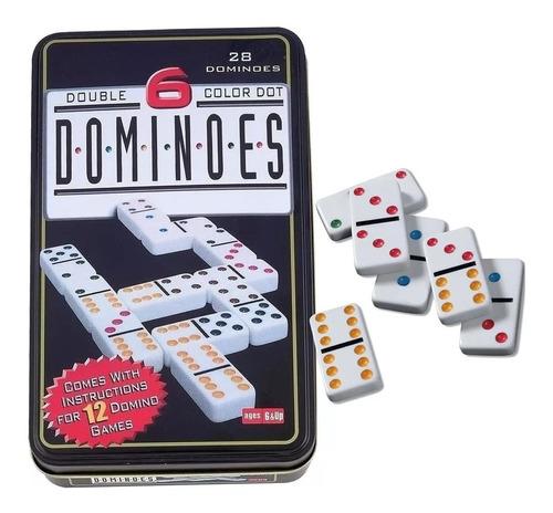 Domino Juego Doble 6 En Caja Metalica 28 Piezas Fichas Color