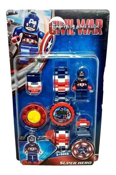 Relógio Digital Infantil + Mini Boneco Capitão América