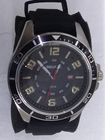 Relógio Seculus Prata Preto Silicone 20363g0svnu1 De Vitrine