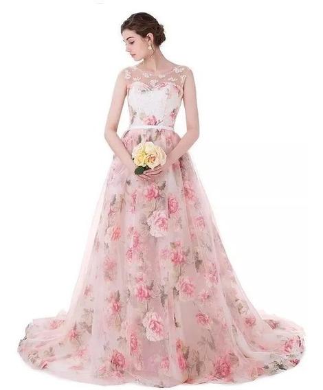 Vestido 15 Años Xv Años Organdi Flores Encaje Perlas