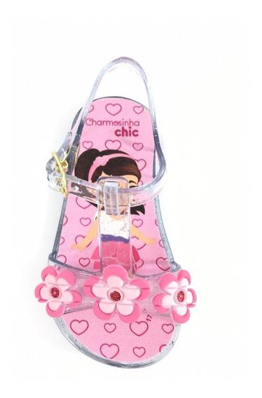 Sandalinha Infantil Menina Plastico Com Flor Confortavel