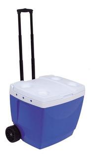 Caixa Térmica Com Alça E Rodinhas 42l Azul Mor