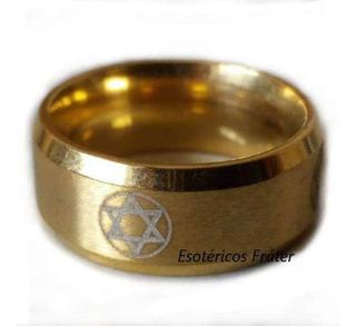 Anel Dourado Hexagrama Rei Salomão Amuleto Sagrado