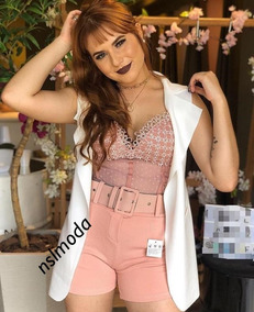 Short Feminino Cintura Alta Com Cinto Modela Cintura P Ao Gg