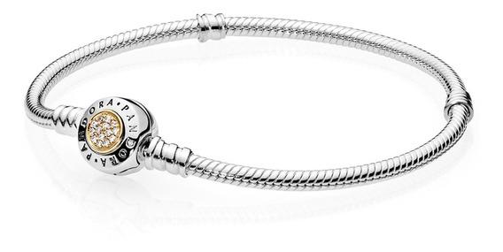 Bracelete Pandora Signature Com Fecho Dourado , Prata925